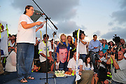 Aviva Shalit, Mother of the abducted Israeli soldier, Gilad Shalit at a ralley to force the Israeli government to secure Gilad's release..Gilad has been held by Hamas for the last four years with no visitation rights by the Red Cross and with no contact to the outside world. For his release Hamas are demanding the release of hundreds of terrorists from Israeli jails