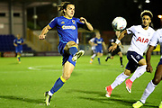 AFC Wimbledon attacker Egli Kaja (21) battles for possession during the EFL Trophy match between AFC Wimbledon and Tottenham Hotspur at the Cherry Red Records Stadium, Kingston, England on 3 October 2017. Photo by Matthew Redman.