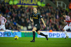 STOKE-ON-TRENT, ENGLAND - Boxing Day Wednesday, December 26, 2012: Liverpool's Jonjo Shelvey in action against Stoke City during the Premiership match at the Britannia Stadium. (Pic by David Rawcliffe/Propaganda)