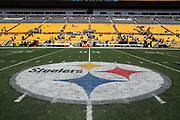 The Pittsburgh Steelers logo is painted on the field for the 2017 NFL week 2 regular season football game against the against the Minnesota Vikings, Sunday, Sept. 17, 2017 in Pittsburgh. The Steelers won the game 26-9. (©Paul Anthony Spinelli)
