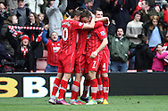 Picture by Daniel Chesterton/Focus Images Ltd +44 7966 018899.16/03/2013.Rickie Lambert of Southampton celebrates scoring his side's second goal with teammates during the Barclays Premier League match at the St Mary's Stadium, Southampton.