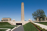 The Liberty Memorial in Kansas City, Missouri was built to honor those who served during the First World War.  The site was dedicated on November 1, 1921.  The main Allied military leaders spoke to a crowd of 200,000 people.  After three years of construction, the completed Liberty Memorial opened on November 11, 1926 -- eight years after the end of the First World War.