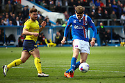 Carlisle United Midfielder Patrick Brough cleared the ball during the Sky Bet League 2 match between Carlisle United and Oxford United at Brunton Park, Carlisle, England on 30 April 2016. Photo by Craig McAllister.