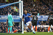 Everton forward Dominic Calvert-Lewin (9) celebrates Everton forward Richarlison (7) goal 1-0  during the Premier League match between Everton and Chelsea at Goodison Park, Liverpool, England on 7 December 2019.