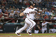 PHOENIX, AZ - JUNE 26:  Daniel Descalso #3 of the Arizona Diamondbacks hits a two run RBI in the third inning of the MLB game against the Philadelphia Phillies at Chase Field on June 26, 2017 in Phoenix, Arizona.  (Photo by Jennifer Stewart/Getty Images)