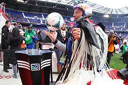 Mar 16, 2013; Harrison, NJ, USA; A parachuter delivers the ball of the match before the first half at Red Bull Arena.