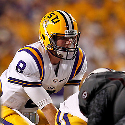 October 13, 2012; Baton Rouge, LA, USA; LSU Tigers quarterback Zach Mettenberger (8) during a  game against the South Carolina Gamecocks at Tiger Stadium. LSU defeated South Carolina 23-21. Mandatory Credit: Derick E. Hingle-US PRESSWIRE