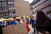 Frankfurt am Main | 26 July 2014<br /> <br /> Am Samstag (26.07.2014) demonstrierten etwa 500 Menschen auf dem R&ouml;merberg in Frankfurt am Main f&uuml;r Frieden in Pal&auml;stina / Gaza und f&uuml;r ein sofortiges Ende der israelischen Milit&auml;reins&auml;tze dort.<br /> Hier: Einige Teilnehmer der Demo f&uuml;hrten Transparente mit offen israelfeindlichen Spr&uuml;chen mit, hier z.B. &quot;Blutsauger Israel&quot;, Kinderm&ouml;rder Israel&quot; und &quot;Frauenm&ouml;rder Israel&quot;.<br /> <br /> &copy;peter-juelich.com<br /> <br /> FOTO HONORARPFLICHTIG!<br /> <br /> [No Model Release | No Property Release]