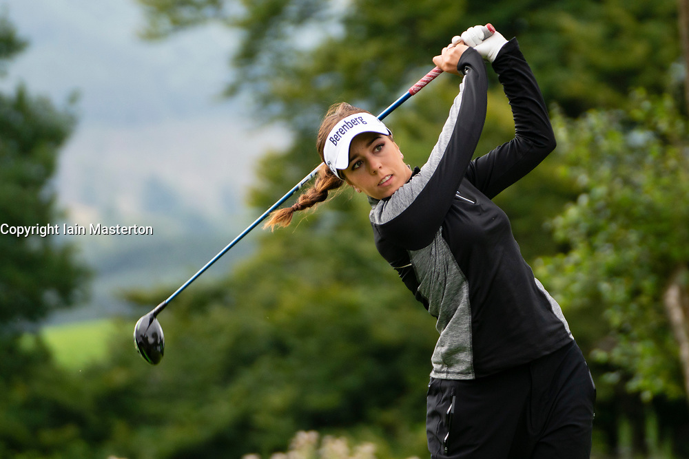 Gleneagles, Scotland, UK; 8 August, 2018.  Day one of golf competition at Gleneagles.. Men's and Women's Team Championships Round Robin Group Stage - 1st Round. Four Ball Match Play format. Gleneagles for the European Championships 2018. Pictured: Georgia Hall of GB drives