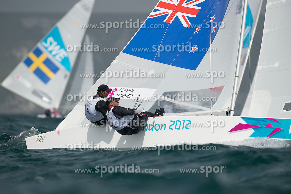 02.08.2012, Bucht von Weymouth, GBR, Olympia 2012, Segeln, im Bild .Pepper Hamish, Turner Jim, (NZL, Star) // during Sailing, at the 2012 Summer Olympics at Bay of Weymouth, United Kingdom on 2012/08/02. EXPA Pictures © 2012, PhotoCredit: EXPA/ Juerg Kaufmann ***** ATTENTION for AUT, CRO, GER, FIN, NOR, NED, POL, SLO and SWE ONLY!