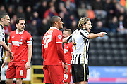 Notts County midfielder Alan Smith shouts to his team mates during the Sky Bet League 2 match between Notts County and Leyton Orient at Meadow Lane, Nottingham, England on 20 February 2016. Photo by Jon Hobley.