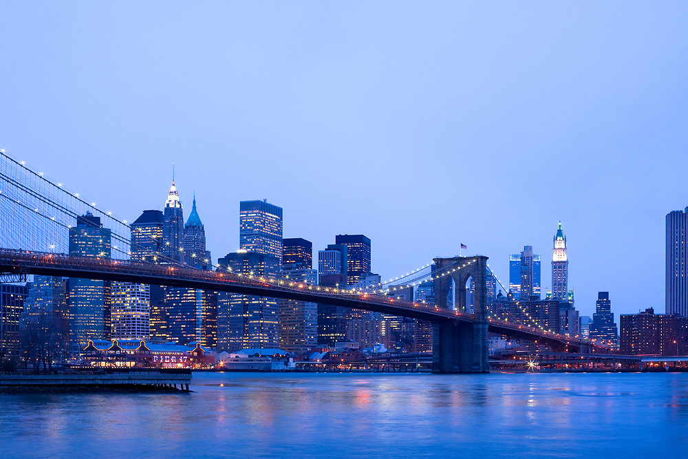 Brooklyn Bridge over the East River and downtown skyline, Manhattan, New York City, New York, United States