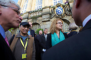dOCUMENTA (13) in Kassel, Germany..Press Reception at City Hall..dOCUMENTA (13) Director Carolyn Christov-Bakargiev (m)..Kassel Mayor Bertram Hilgen (l.)