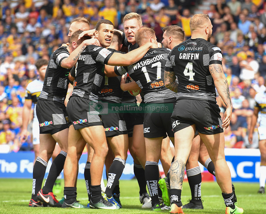 Hull FC's Chris Green is congratulated on scoring his sides third try during the Challenge Cup Semi Final match at The Keepmoat Stadium, Doncaster.