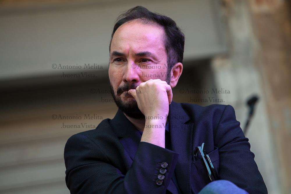 Maurizio Acerbo, segretario nazionale di Rifondazione Comunista, durante una iniziativa a sostegno di Leoluca Orlando sindaco di Palermo.