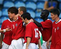 Football, EM-kvalifisering U21, Norge - Hviterussland 5-1, 5. mai 2001. John Arne Riise, jubler sammen med blant andre Espen Hoff (15) Bak Pa-Modou Kah.