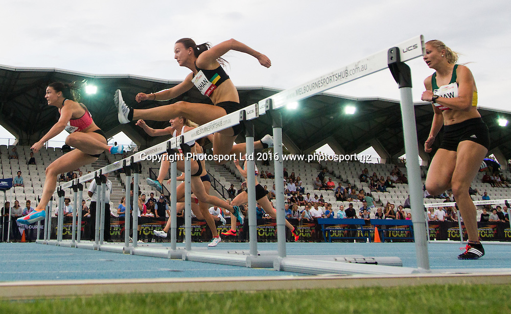 Competitors jump in the Women 100 Metre Hurdles during the IAAF world Challenge Athletics event at Lakeside Stadium. Saturday 5th March 2016. Copyright Photo. Brendon Ratnayake / www.photosport.nz