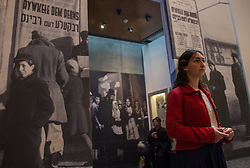 A woman visits an exhibition marking the Holocaust Remembrance Day at the Yad Vashem Holocaust Memorial Museum in Jerusalem, on April 16, 2015. From Wednesday sunset to Thursday, Israel officially commemorates the genocide of six million Jews by Nazi Germany during the World War II. EXPA Pictures © 2015, PhotoCredit: EXPA/ Photoshot/ Li Rui<br /> <br /> *****ATTENTION - for AUT, SLO, CRO, SRB, BIH, MAZ only*****