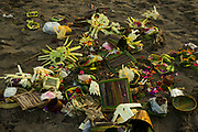 Scattered offerings on the beach of Seminak - Bali revisited February 2017