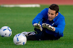 Goalkeeper of Slovenian National football team Samir Handanovic at practice a day before the last 2010 FIFA Qualifications match between San Marino and Slovenia, on October 13, 2009, in Olimpico Stadium, Serravalle, San Marino.  (Photo by Vid Ponikvar / Sportida)