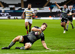 Olly Cracknell of Ospreys scores his sides second try<br /> <br /> Photographer Simon King/Replay Images<br /> <br /> European Rugby Challenge Cup Round 5 - Ospreys v Worcester Warriors - Saturday 12th January 2019 - Liberty Stadium - Swansea<br /> <br /> World Copyright © Replay Images . All rights reserved. info@replayimages.co.uk - http://replayimages.co.uk