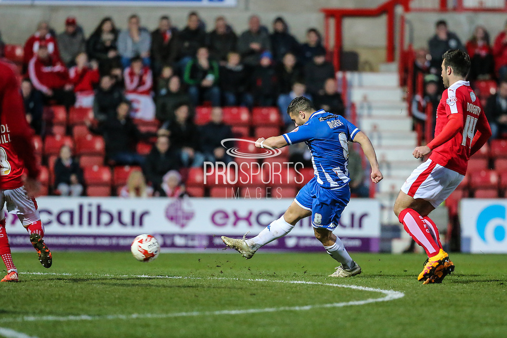 Wigan's Sam Morsy shoots to score his teams 4th goal, during the Sky Bet League 1 match between Swindon Town and Wigan Athletic at the County Ground, Swindon, England on 25 March 2016. Photo by Shane Healey.