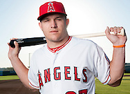 The Angels' Mike Trout poses during photo day at Tempe Diablo Stadium Friday February 26, 2016 in Tempe, Arizona.