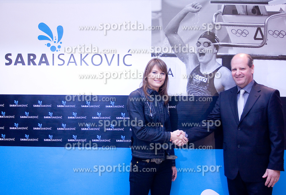 Sara Isakovic signed a contract with Borut Farcnik, SiSport d.o.o., at press conference when she has signed a contract with SI Sport, on December 22, 2008, Grand hotel Union, Ljubljana, Slovenia. (Photo by Vid Ponikvar / SportIda).