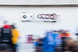 21.02.2016, Olympiaeisbahn Igls, Innsbruck, AUT, FIBT WM, Bob und Skeleton, Herren, Viererbob, 3. Lauf, im Bild Mateusz Luty, Jakub Zakrzewski, Lukasz Miedzik, Grzegor Kossakowski (POL) // Mateusz Luty Jakub Zakrzewski Lukasz Miedzik Grzegor Kossakowski of Poland compete during Four-Man Bobsleigh 3rd run of FIBT Bobsleigh and Skeleton World Championships at the Olympiaeisbahn Igls in Innsbruck, Austria on 2016/02/21. EXPA Pictures © 2016, PhotoCredit: EXPA/ Johann Groder