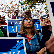 Supporters of David Alvarez listen to speakers at a rally in Kearny Mesa.
