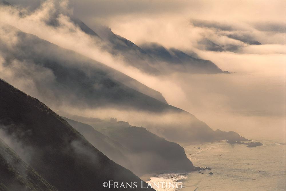 Coastline with morning clouds, Big Sur, California, USA