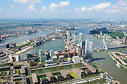Nederland, Zuid-Holland, Rotterdam, 10-06-2015; Rotterdam-Zuid met  Kop van Zuid - Entrepot. Onder in beeld Binnenhaven en Spoorweghaven, Laan op Zuid.  Middenplan Wilheminakade, Rijnhaven en Maashaven (li).<br /> Rotterdam-South, former harbour area, newly developed.<br /> luchtfoto (toeslag op standard tarieven);<br /> aerial photo (additional fee required);<br /> copyright foto/photo Siebe Swart