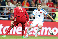 Spain's Gerard Pique (l) and Slovakia's Michal Duris during 15th UEFA European Championship Qualifying Round match. September 5,2015.(ALTERPHOTOS/Acero)