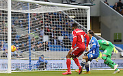 Nottingham Forest's Danny Collins scores  during the Sky Bet Championship match between Brighton and Hove Albion and Nottingham Forest at the American Express Community Stadium, Brighton and Hove, England on 7 February 2015. Photo by Phil Duncan.