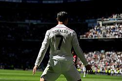 05.04.2015, Estadio Santiago Bernabeu, Madrid, ESP, Primera Division, Real Madrid vs FC Granada, 29. Runde, im Bild Real Madrid´s Cristiano Ronaldo celebrates a goal // during the Spanish Primera Division 29th round match between Real Madrid CF and FC Granada at the Estadio Santiago Bernabeu in Madrid, Spain on 2015/04/05. EXPA Pictures © 2015, PhotoCredit: EXPA/ Alterphotos/ Luis Fernandez<br /> <br /> *****ATTENTION - OUT of ESP, SUI*****