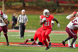 NORMAL, IL - October 13: Markel Smith hits the open lane for some major yards during a college football game between the ISU (Illinois State University) Redbirds and the Southern Illinois Salukis on October 13 2018 at Hancock Stadium in Normal, IL. (Photo by Alan Look)