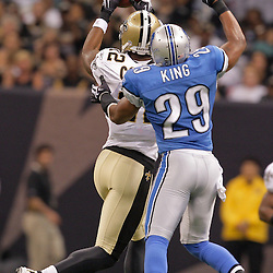 2009 September 13: Detroit Lions cornerback Eric King (29) defends against New Orleans Saints wide receiver Marques Colston (12) during a 45-27 win by the New Orleans Saints over the Detroit Lions at the Louisiana Superdome in New Orleans, Louisiana.