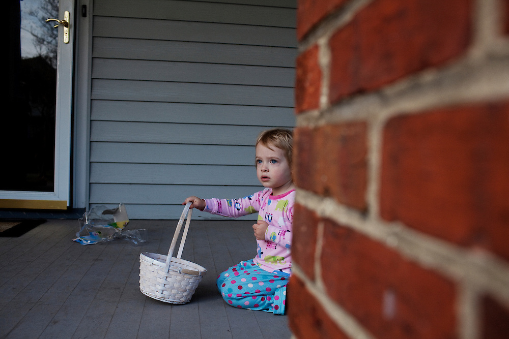 Madelyn Avery Eich, 2, with her Easter basket on Easter Sunday, April 4, 2010 in her home in Norfolk, Virginia.