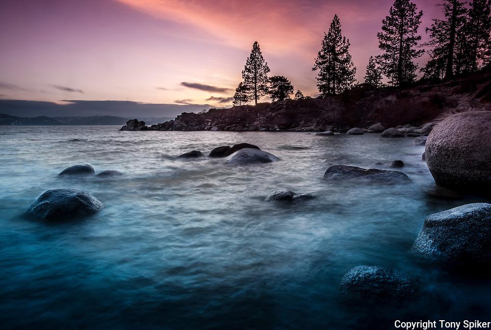 """Secret Harbor Sunset 5"" - The Sun sets over Secret Beach on the Eastern shore of Lake Tahoe"