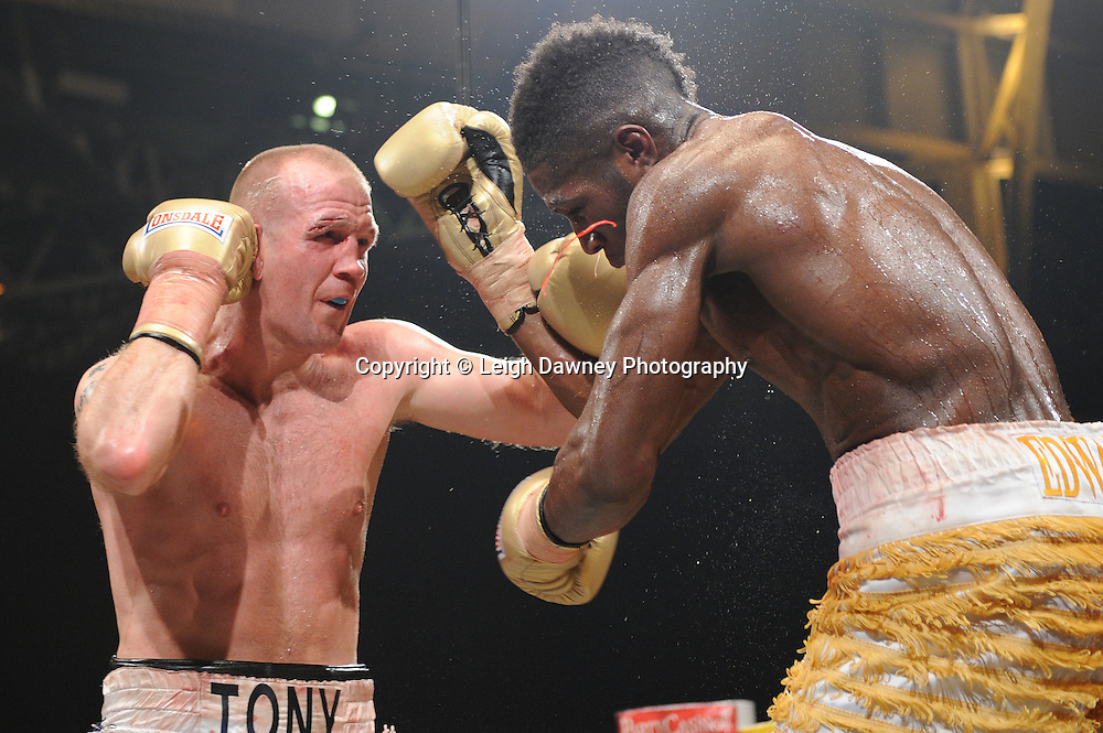 Menay Edwards v Tony Dodson (silver shorts) at Prizefighter The Light Heavyweights II, Olympia, London on 29th January 2011. Photo credit © Leigh Dawney.