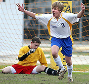 East Ascension's Luke Landaiche celebrates a goal in front of Riverdale goal keeper Lee Rideout Saturday, Feb. 3, 2007 at East Ascension Spartan Stadium in Gonzales.