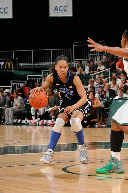February 28, 2013: Chloe Wells #4 of Duke in action during the NCAA basketball game between the Miami Hurricanes and the Duke Blue Devils at the Bank United Center in Coral Gables, FL. The Hurricanes defeated the Blue Devils 69-65.