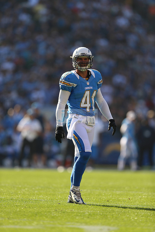San Diego Chargers safety Corey Lynch (41) in action against the Baltimore Ravens during an NFL game on Sunday, November 25, 2012 in San Diego, CA.  (Photo by Jed Jacobsohn)