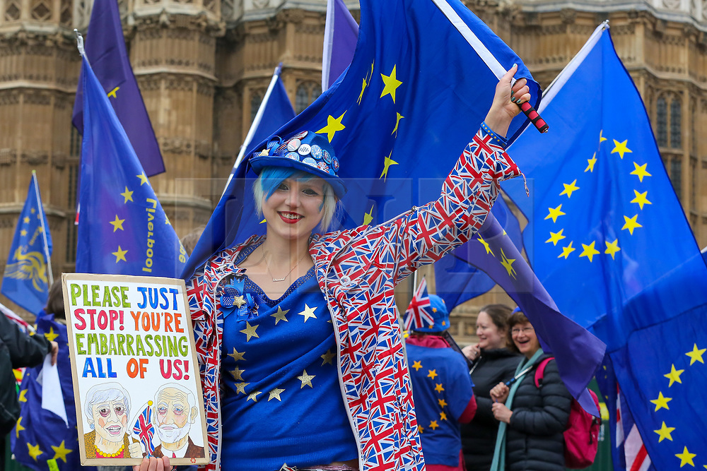 © Licensed to London News Pictures. 08/04/2019. London, UK. Madeleina Kay a pro-Brexit campaigner protesting outside the Houses of Parliament. British Prime Minister, Theresa May will travel to Berlin and Paris on Tuesday, 9 April to meet with Chancellor of Germany - Angela Merkel and President of the French - Emmanuel Macron ahead of a crunch Brexit summit in Brussels on Wednesday, 10 April.<br /> Photo credit: Dinendra Haria/LNP
