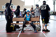 San Diego Derby Dolls jammer Kung Pow Tina. The Derby Dolls beat Team Legit to win the Battle on the Bank III tournament, held at the San Diego County Fair, June 27, 2010.