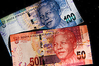 South African currency (50 and 100 Rand notes), Johannesburg, South Africa.