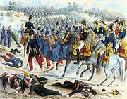Crimean (Russo-Turkish) War 1853-1856: Battle of Alma, 20 September 1854. 26,000 troops under Raglan, 24,000 French under St Arnaud. French command with advancing infantry. Lithograph published Paris c1860