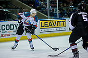 KELOWNA, CANADA - MARCH 10:  Carsen Twarynski #18 of the Kelowna Rockets, Jeff Rayman #5 of the Vancouver Giants at the Kelowna Rockets game on March 10, 2017 at Prospera Place in Kelowna, British Columbia, Canada.  (Photo By Cindy Rogers/Nyasa Photography,  *** Local Caption ***