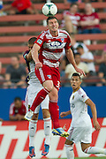 FRISCO, TX - JULY 13:  Kenny Cooper #33 of FC Dallas wins the ball in the air against Real Salt Lake on July 13, 2013 at FC Dallas Stadium in Frisco, Texas.  (Photo by Cooper Neill/Getty Images) *** Local Caption *** Kenny Cooper