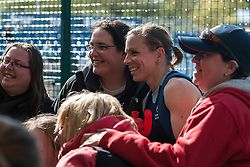 Kate Richardson Walsh poses for a fan photo. Investec Women's Hockey League Finals Weekend, Sonning Lane, Reading, UK on 13 April 2014. Photo: Simon Parker
